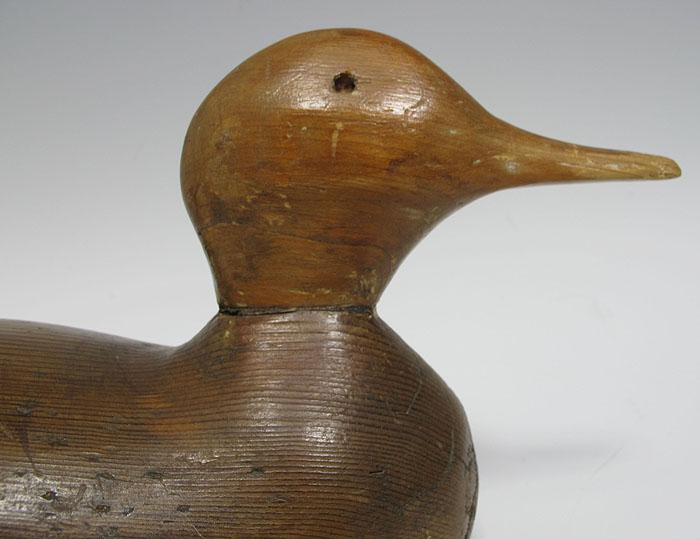 Antique folk art duck decoy carved wood sculpture carving